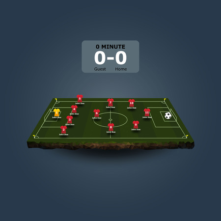 lay forward: Soccer field with team formation in perspective view
