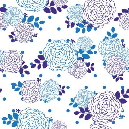 flourishing: Vintage rose seamless pattern with blue and purple theme Illustration