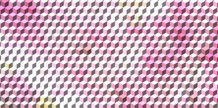 three dimensions: Abstract pink cube geometric background