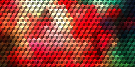 three dimensions: Abstract red and green cube geometric background  Illustration