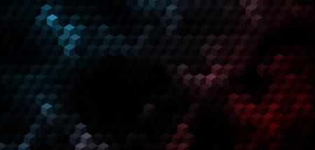 red cube: Abstract dark cubo blu e rosso sfondo geometrico