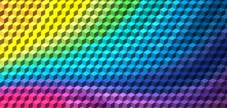three dimensions: Abstract rainbow cube geometric background Illustration