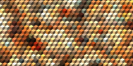 three dimensions: Abstract brown cube geometric background Illustration