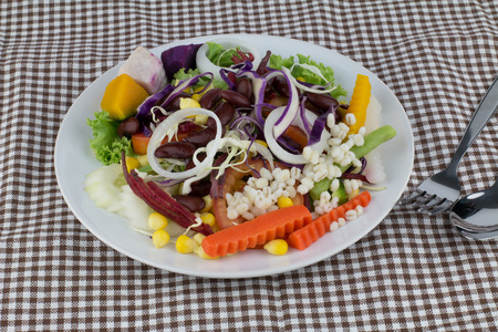 Fresh mixed salad in white plate photo