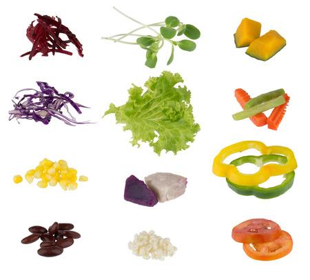 Set of salad vegetable isolated on white background photo