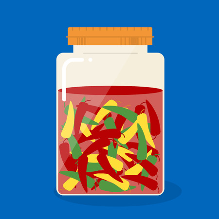 pickled: Pickled chili in glass can on blue background Illustration
