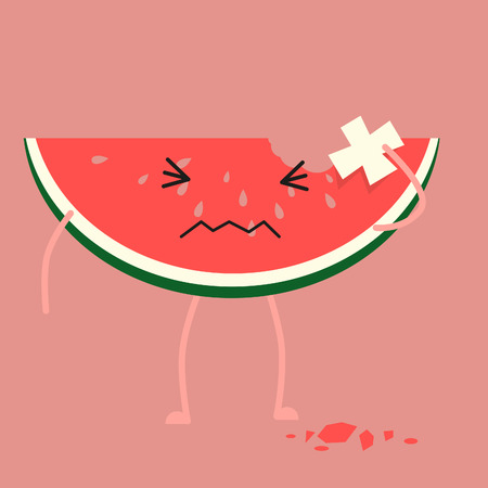 got: Watermelon got injured and try to put plaster
