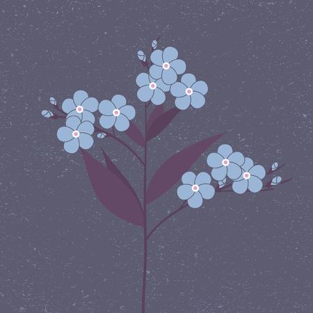 fragrant bouquet: Blue flower in flat style Illustration