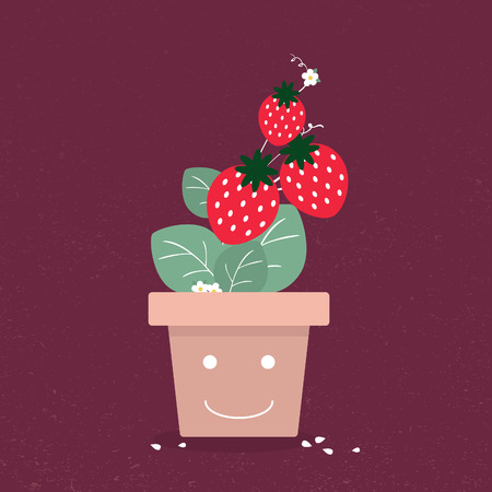 strawberry tree: Strawberry tree in smiling vase