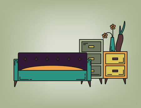 drawers: Sofa and drawers in living room in purple and green tone