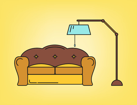 Sofa and lamp in living room in yellow tone Vector