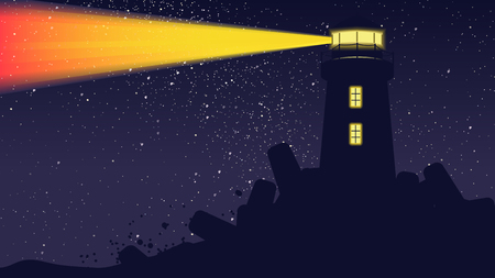 Lighthouse light operating at night with billion stars on the sky Stock Illustratie