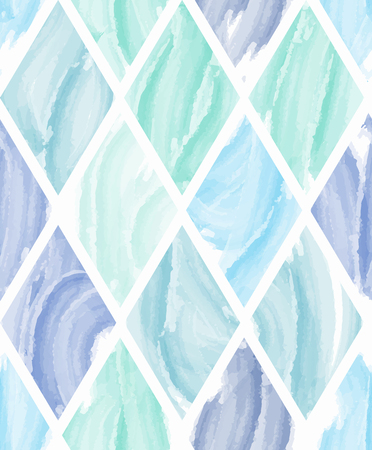 Rhombus shape watercolor seamless pattern background in cool tone