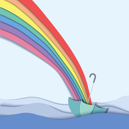 Rainbow go direct to umbrella floating in the river,  paper cutting style