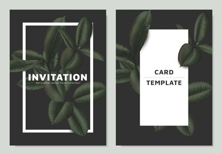 Dark matte green Ficus Elastica leaves with white frame on dark background, invitation card template design Vettoriali