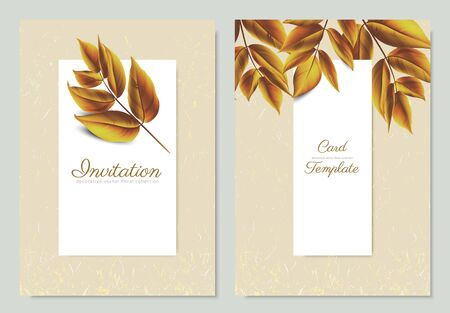 Autumn leaves with white frame and gold glitter, invitation card template design
