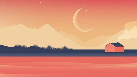 Small house beside the river and mountains at night landscape, orange and blue tones Ilustração