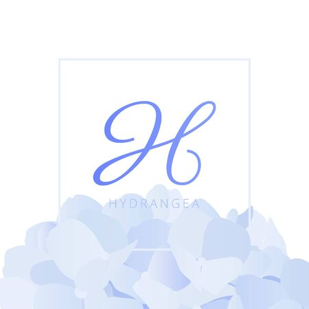 Pastel blue hydrangea flower with square frame Иллюстрация