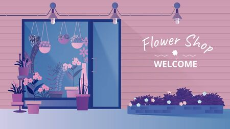 Small flower and plant shop facade, stylish exterior storefront design with copy space background, blue and purple tones Stock Illustratie