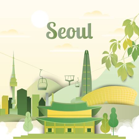Famous places in Seoul, South Korea, yellow and green tones, paper cutting style