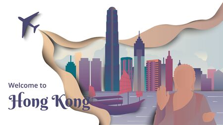 Famous places in Hong Kong, purple and green tones, paper cutting style