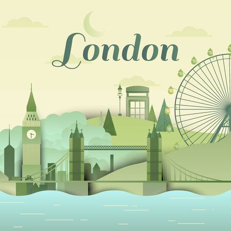 Famous places in London, England, green and blue tones, paper cutting style