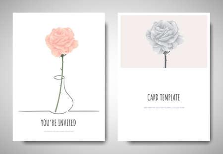 Minimalist greeting/invitation card template design, pastel pink rose in simple line vase on white background 矢量图像