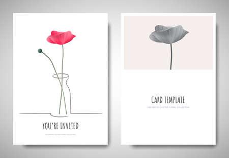 Minimalist greeting/invitation card template design, pink poppy flowers in simple line vase on white background 矢量图像