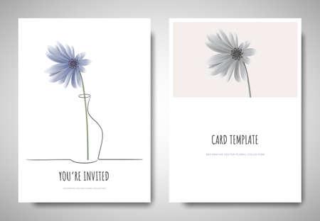 Minimalist greeting/invitation card template design, blue Chrysanthemum flower in simple line vase on white background