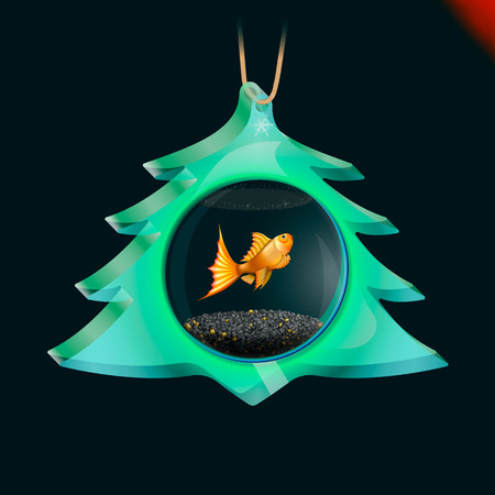 christmas toy: Christmas tree toy - A magic fish in an aquarium