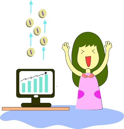Stock cartoon with girl and monitor on white background, vector illustration.