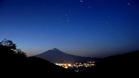 kawaguchi: Night Fuji Stock Photo