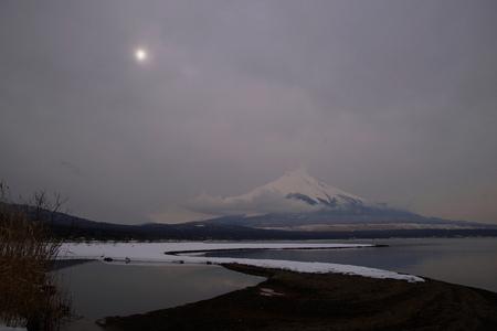 leaden: Clouds of Yamanaka Lake Stock Photo