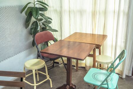 Table Chair set in bright room minimal