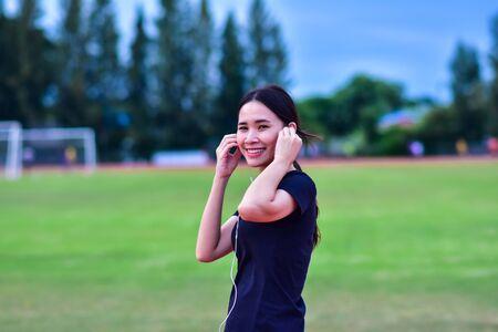 Women listening music when running jogging or exercise,Woman Runner or Girl Running