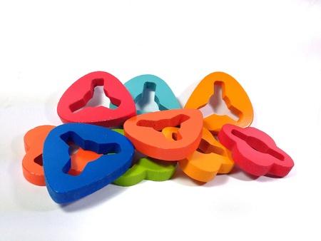 juguetes de madera: Coloridos juguetes de madera Foto de archivo