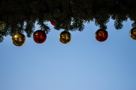 Christmas ball on blue sky photo