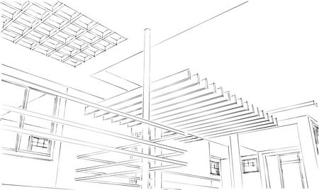 3D Architecture Sketch 版權商用圖片