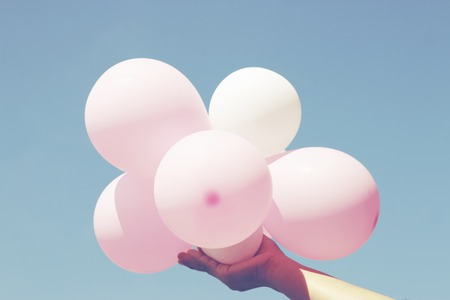 pastel colors: Balloon on blue sky - retro filter