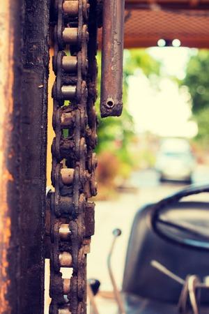 montacargas: Amarillo viejo montacargas popular - filtro de Instagram Foto de archivo