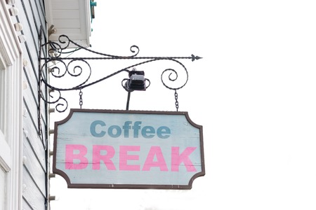 old sign: Old wooden sign and text on coffee concept.