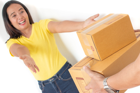 Women are happy to receive big box parcels.