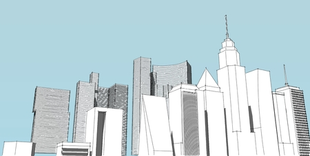 Panorama cityscape Sketch. Architecture sketch - 3D Illustration. Stock Photo