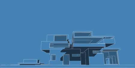 Architecture building 3d illustration, 3D illustration architecture building perspective lines, modern urban architecture abstract background design, Abstract Architecture Background. Banco de Imagens