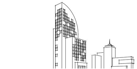 Architettura edificio 3d illustrazione, illustrazione 3D architettura edificio linee di prospettiva, moderna architettura urbana disegno astratto sfondo, architettura astratta sfondo.