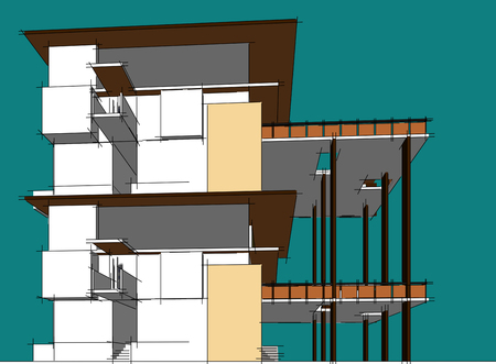 Architecture building 3d illustration, 3D illustration architecture building perspective lines, modern urban architecture abstract background design, Abstract Architecture Background. Stock Photo