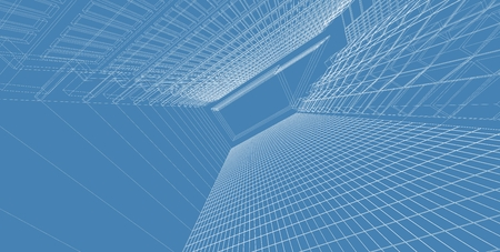 3D illustration architecture building perspective lines, modern urban architecture abstract background design. Architecture building 3d illustration ,Abstract Architecture Background. Standard-Bild