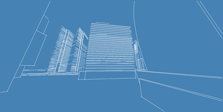 3D illustration architecture building perspective lines, modern urban architecture abstract background design. Architecture building 3d illustration ,Abstract Architecture Background. Stock Photo