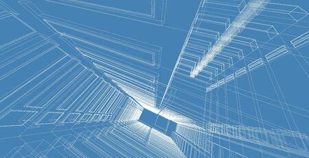 Architekturgebäude 3D-Darstellung, moderne städtische Architektur abstraktes Hintergrunddesign.