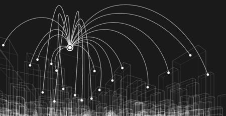 Network connection cityscape wireframe, Big data concept. 3D illustration